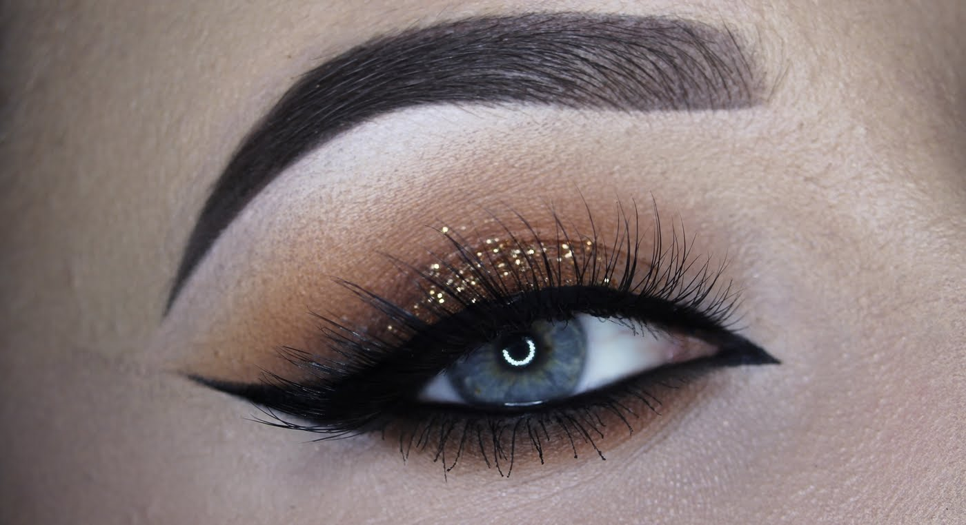 Warm brown glitter cateye makeup tutorial