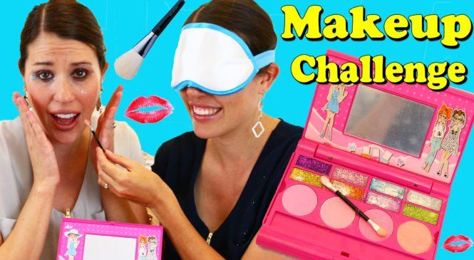 MAKEUP Challenge Blind Folded Makeup Makeover Kids Frozen & Girls Toy DisneyCarToys AllToyCollector